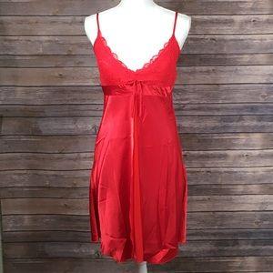 Vintage Red Semi Sheer Tie Waist Lingerie Slip